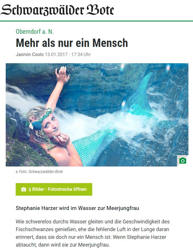 Zeitungsartikel Schwarzwälder Bote Schwimmschule Stephariella